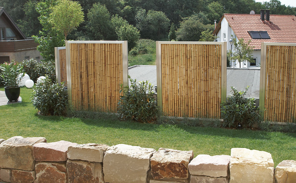 Anfangspfosten endpfosten f r bambuszaun bambusb rse - Wandgestaltung terrasse ...
